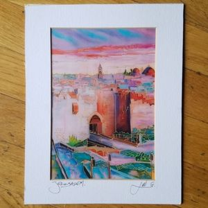 Beautiful dawn or dusk Jerusalem painting print